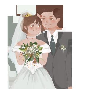 浪漫新人结婚礼服白色婚纱甜蜜PNG图