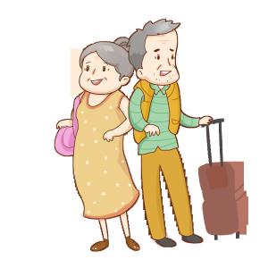 一起旅行的老年夫妻爷爷奶奶免抠素材PNG