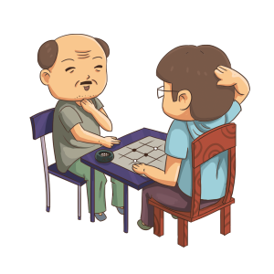 重阳节老人下围棋手绘免抠卡通人物下载