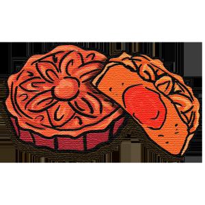 中秋节手绘流行噪点风格月饼