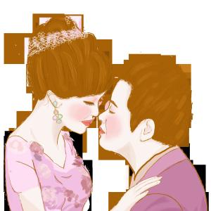 千库原创婚礼情侣手绘爱人手绘love