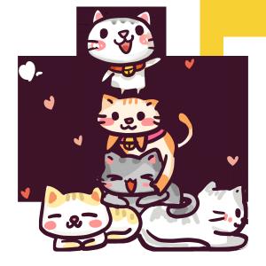 世界保护动物日卡通小猫手绘