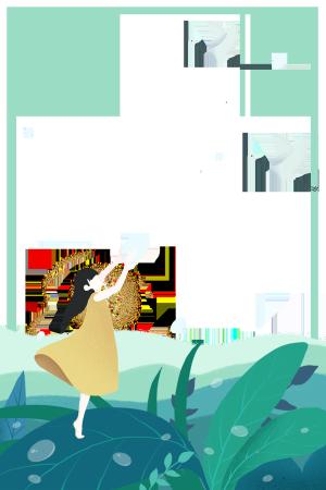 女孩与白鹤小清新主题边框