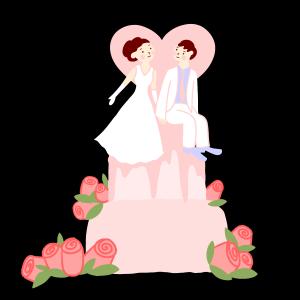 手绘矢量卡通可爱小清新婚礼新郎新娘