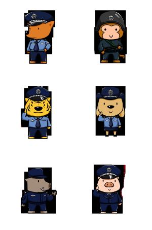 手绘卡通动物警察合集