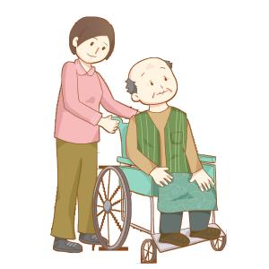 重阳节照顾坐在轮椅上的老人免抠PNG素材