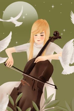 手绘风格演奏大提琴的女孩