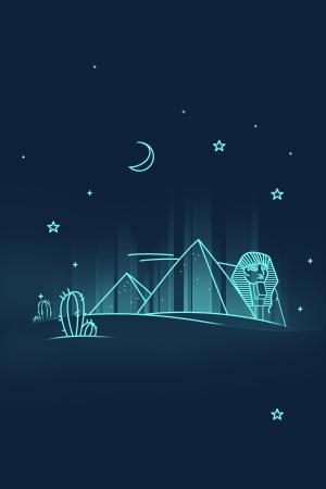 扁平线条埃及地标性建筑金字塔名胜古迹夜景