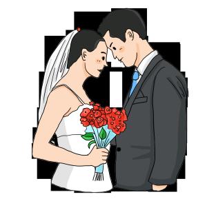 婚礼季节新婚夫妻手拿玫瑰花靠在一起拍照