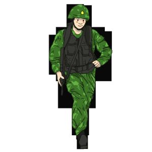 穿军绿色迷彩军装防弹背心头戴安全帽的男军人