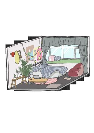 卡通手绘小清新风格房间内视