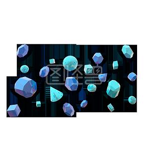 C4D蓝色多边形悬浮素材