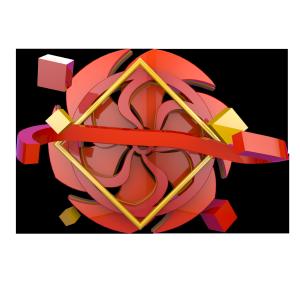 红色几何叠加背景板电商C4D装饰元素
