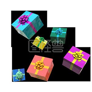 电商装饰C4D双十一漂浮彩色礼盒
