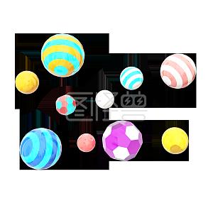 卡通小清新C4D双十一电商装饰悬浮彩球
