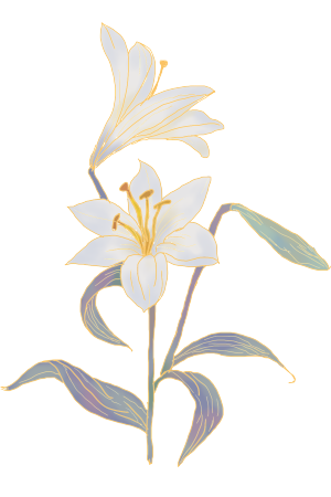 古风复古鎏金花卉百合花