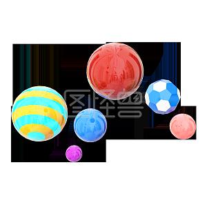 卡通C4D双十一电商装饰悬浮彩球