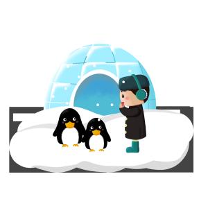 手绘冬天男生在南极看企鹅PNG免抠