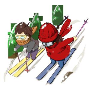 手绘冬季相约滑雪