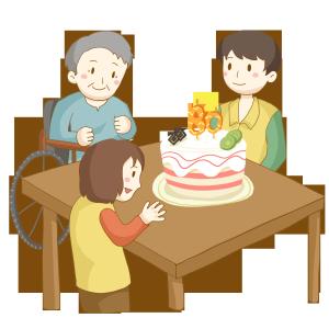 志愿者社区服务敬老院给老人过生日免抠PNG素材