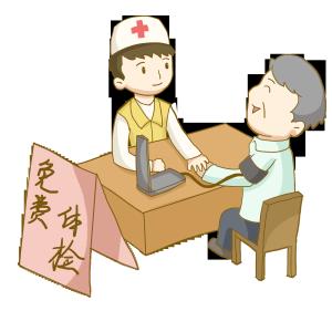 志愿者社区服务给老人免费体检量血压免抠PNG素材
