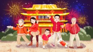 猪年2019春节阖家欢中国红喜庆