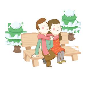 冬季依偎的情侣免抠PNG素材