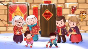 猪年2019除夕春节中国红合家放鞭炮喜庆