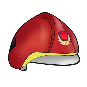 卡通手绘消防火警119安全帽