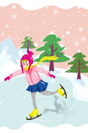 可爱女孩滑冰手绘插图PSD源文件