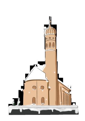 冬季下雪房子的雪景