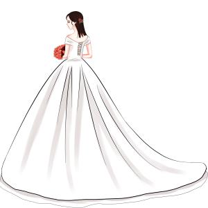 结婚白色婚纱手绘女PNG免抠