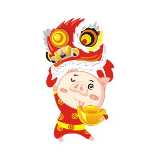 新年猪1春节过年大红色系卡通PNG免抠图