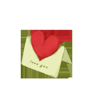 红色爱心贺卡节日感恩节节日贺卡手绘免扣