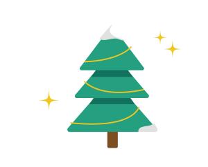 圣诞节圣诞树白雪覆盖绿色树木