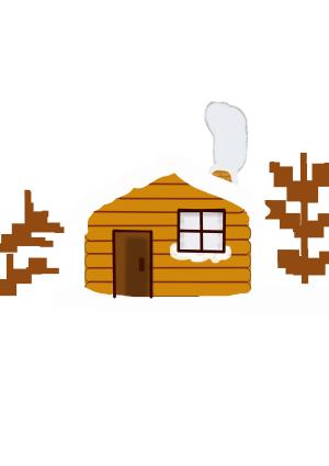 立冬白雪木屋矢量图