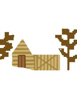 立冬白雪房屋卡通