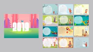 2019年手绘日历