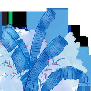 蓝色中国风水墨芭蕉叶红果子PSD分层