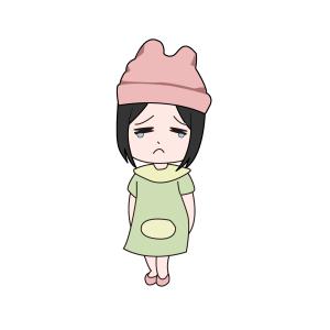 不开心的孩子悲伤忧伤人物手绘矢量