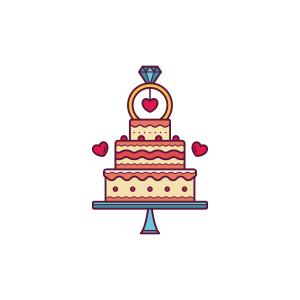 可爱草莓生日蛋糕矢量