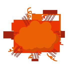 创意卡通手绘橘色爆炸团
