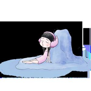 童真梦幻主题马卡龙色系在海边哭泣的悲伤海螺女孩
