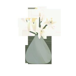唯美手绘百合花插花