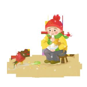冬至可爱的小女孩吃饺子透明底