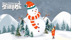 圣诞节之雪人和小女孩