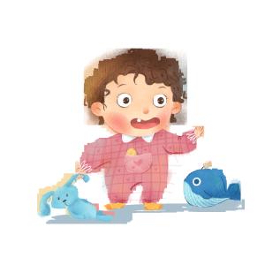 可爱宝宝手绘插图玩玩具免扣背景