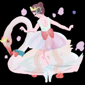梦幻主题系列三跳芭蕾的女孩和天鹅