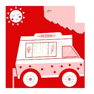 矢量红色卡通冰激淋车