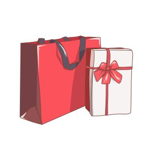 双十二红色蝴蝶结礼盒